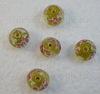 Бусина Лэмпворк рондель, золотистая с розовыми и белыми цветочками 12-13х8-9 мм ()