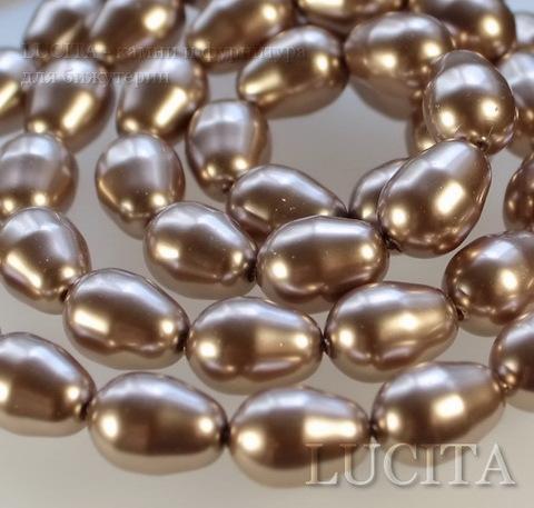 5821 Хрустальный жемчуг Сваровски Crystal Bronze грушевидный 11х8 мм