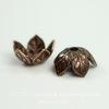 Винтажный декоративный элемент - шапочка с веточками 9х4 мм (оксид меди) ()