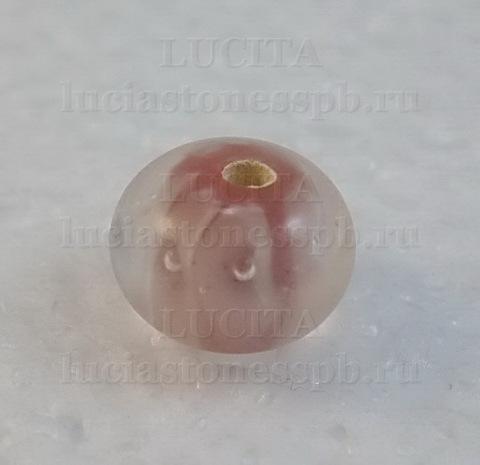 Бусина Лэмпворк рондель, розовая 11-12х8-9 мм
