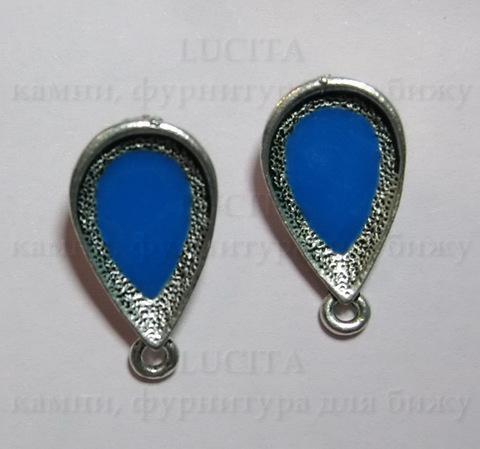 Пуссеты - гвоздики 21х12 мм с синей эмалью (античное серебро)(без заглушек) ()