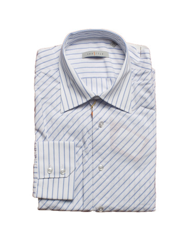 Рубашка Grostyle дл/рукав белая голубая полоска