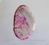 Подвеска Агат Крэкл (тониров) (цвет - бело-розовый) 52х32х6,8 мм №19