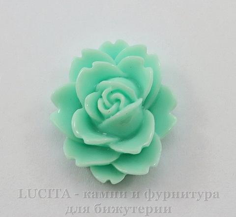 """Кабошон акриловый """"Чайная роза"""", цвет - ментоловый, 18х16 мм"""