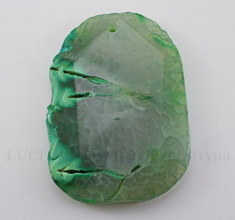 Подвеска Агат (тониров) (цвет - серо-зеленый) 57х41х6,3 мм №15