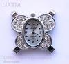 """Основа для часов с прозрачными стразами """"Бабочка"""" (цвет - серебро) 33х32х9 мм ()"""