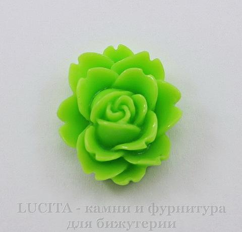 """Кабошон акриловый """"Чайная роза"""", цвет - салатовый, 18х16 мм"""