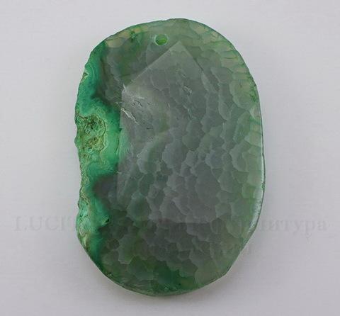 Подвеска Агат (тониров) (цвет - серо-зеленый) 58х38х8 мм №30