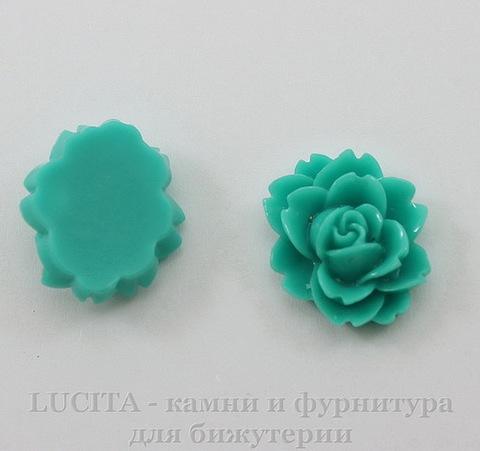 "Кабошон акриловый ""Чайная роза"", цвет - морская волна, 18х16 мм"