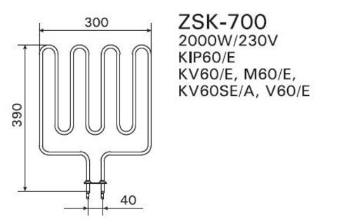 ТЭН Harvia - тэн харвия 2000W ZSK-700 (ZSK700)/ZSL-313 (ZSL313) 230V - нагревательный элемент для печи сауны, см. HTS011HR