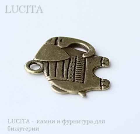 "Подвеска ""Слон"" 21х19 мм (цвет - античная бронза) ()"