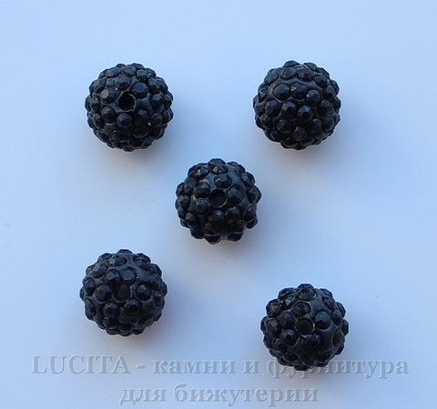 Бусина для шамбалы с фианитами, цвет - черный, 10 мм ()