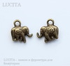 "Подвеска ""Слон"" 12х12 мм (цвет - античная бронза)"