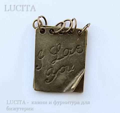 "Подвеска ""Блокнотик"" (цвет - античная бронза) 28х20 мм ()"