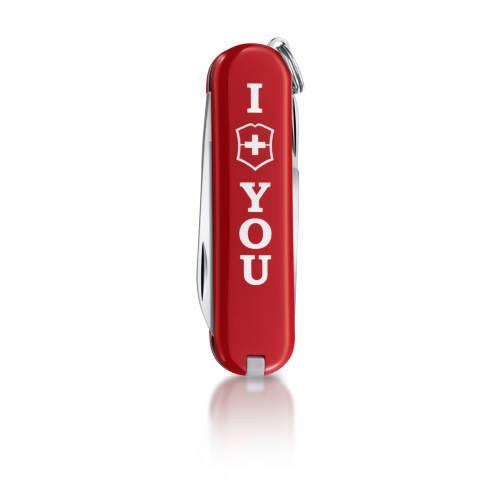 """Нож-брелок Victorinox Classic, 58 мм, 7 функ, """"The Gift"""", красный  (0.6223.851)"""