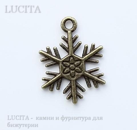 "Подвеска ""Снежинка"" (цвет - античная бронза) 22х22 мм"