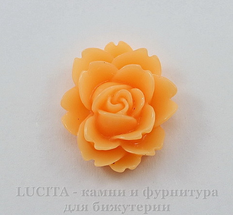 "Кабошон акриловый ""Чайная роза"", цвет - оранжевый, 18х16 мм"