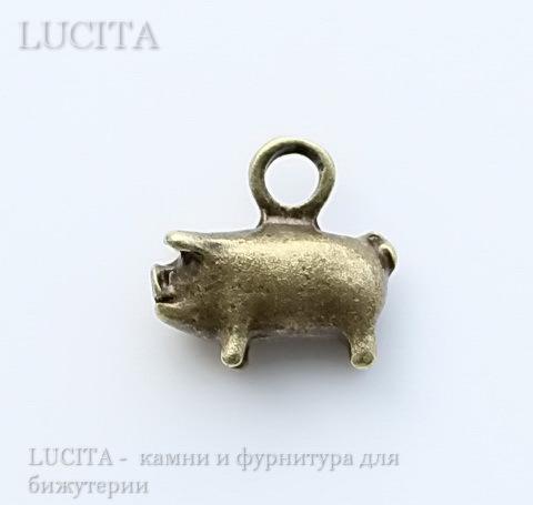 """Подвеска """"Свинья"""" (цвет - античная бронза) 12х11 мм"""