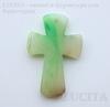 """Подвеска Агат (тониров) """"Крест"""" прозрачно-зеленый с белыми полосками 51,7х34,7х6,2 мм"""