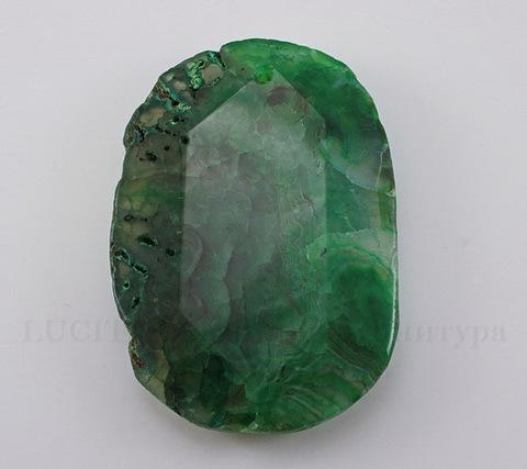 Подвеска Агат (тониров) (цвет - темно-зеленый) 58х41х10,1 мм №22 ()