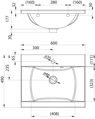 Ravak CLASSIC умывальник 600мм (XJD01160000)