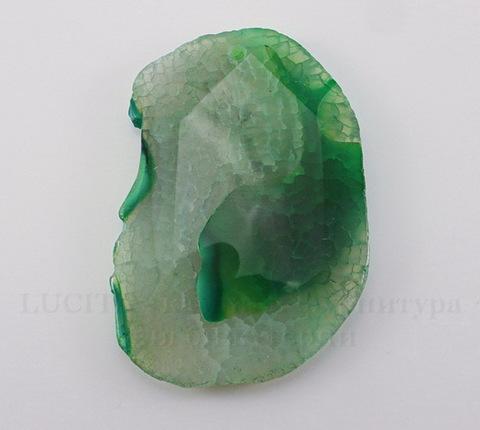 Подвеска Агат (тониров) (цвет - серо-зеленый) 59х41х6,5 мм №35