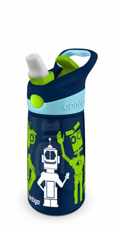 Детская бутылочка Contigo Striker (0.42 литра), роботы, синяя
