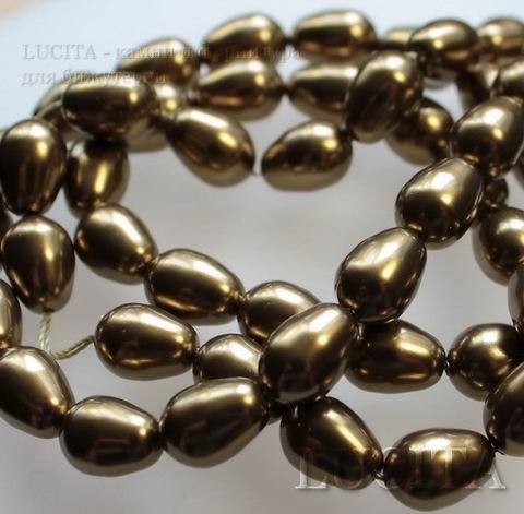 5821 Хрустальный жемчуг Сваровски Crystal Antique Brass  грушевидный 11х8 мм