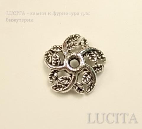 """Шапочка для бусины """"Завитки-листики"""" (цвет - античное серебро) 10х3 мм, 10 штук"""