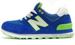 Кроссовки Женские New Balance 574 Blue Green White