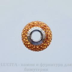 80101 Бусина Сваровски BeCharmed Pave Topaz 14х9 мм