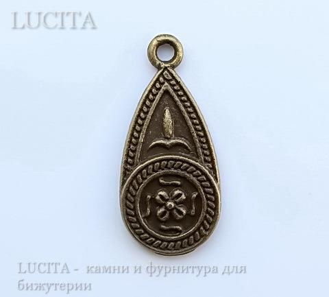 "Подвеска ""Капля с узорами"" (цвет - античная бронза) 25х11,5 мм"