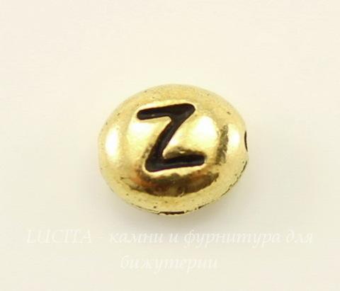 "Бусина овальная TierraCast ""Буква Z"" 7х6х3 мм (цвет-античное золото)"
