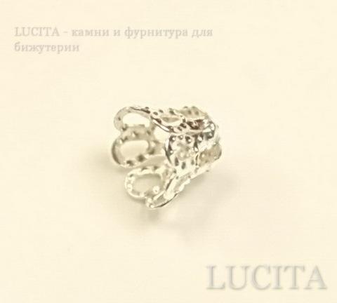 Шапочка для бусины филигранная маленькая (цвет - серебро) 6х5 мм, 10 штук ()