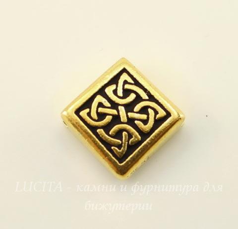 """Бусина ромб TierraCast """"Кельтская"""" 13х13 мм (цвет-античное золото)"""