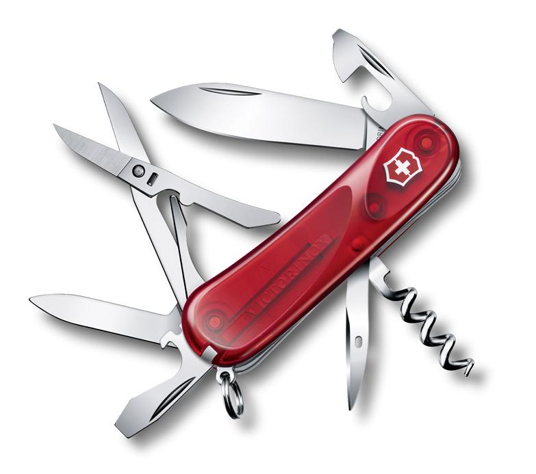 Нож Victorinox Evolution 14.600, 85 мм, 14 функ, полупрозрачный красный