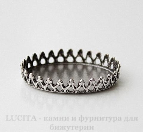 Сеттинг - основа для камеи или кабошона с зубчатым краем 25х18 мм (оксид серебра)