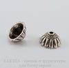 Шапочка для бусины Конус (цвет - античное серебро) 11х6 мм, 10 штук ()