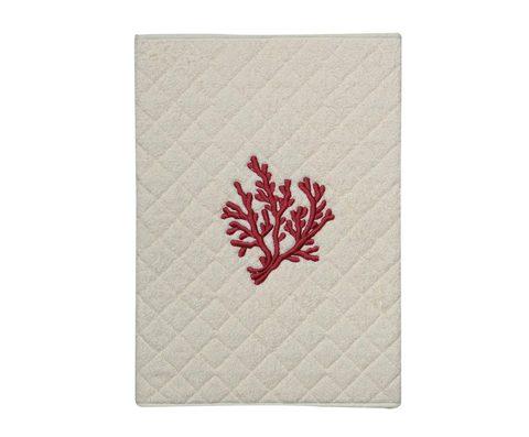Элитный коврик для ванной Corallo бежевый с лиловой вышивкой от Old Florence