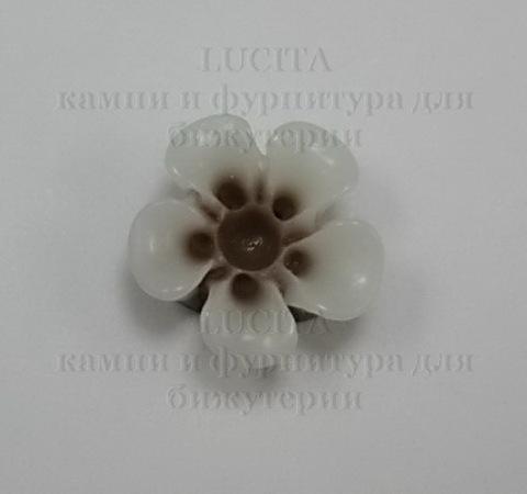 """Кабошон акриловый двухцветный """"Цветок"""", цвет - коричневый, 14 мм ()"""