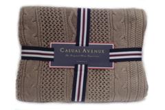 Элитный плед вязаный Bradford коричневый от Casual Avenue