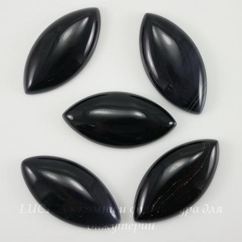 Кабошон Агат Черный, 34х17х6 мм