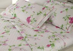 Постельное белье 1.5 спальное Mirabello Hibiscus белое с темно-розовыми цветами