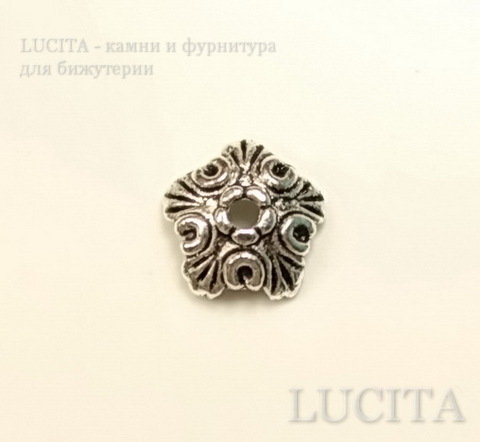 "Шапочка для бусины ""Ажурный цветок""(цвет - античное серебро) 10х3 мм, 10 штук ()"