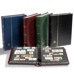 Кляссер для марок PREMIUM A4, 64 черных страницы, с шубером, кожаная обложка, черный