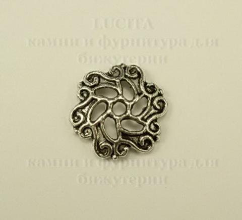 """Шапочка для бусины """"Филигрань"""" (цвет - античное серебро) 13х1мм, 10 штук"""