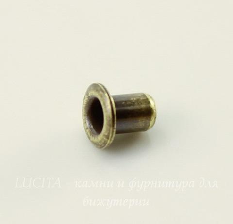 Заклепка с отверстием TierraCast (цвет-античная латунь) 3,7х2,2 мм, 5 штук