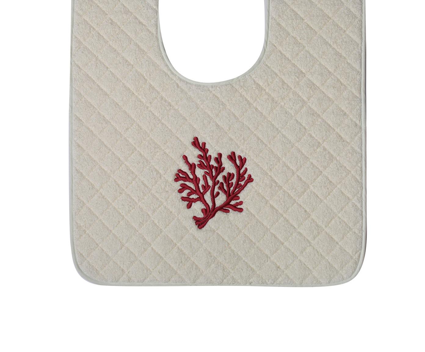 Элитный коврик для унитаза Corallo бежевый с лиловой вышивкой от Old Florence