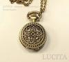 Часы на цепочке с филигранным цветком (цвет - античная бронза) 40х27х13 мм