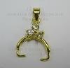 Держатель для кулона со стразами 18х11 мм (цвет - золото)